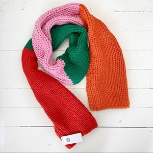 NWT Tory Burch Color Block Chunky Knit Scarf